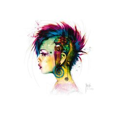 Cyber Punk Wall Art Print ($13) ❤ liked on Polyvore featuring home, home decor, wall art, punk home decor and punk rock home decor