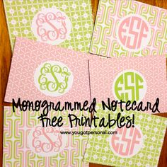 You Got Personal: Free Printable Monogrammed Stationery - Herzlich willkommen Monogrammed Stationery, Stationery Set, Diy Note Cards, Diy Monogram, Fancy Fonts, Personalized Note Cards, Free Prints, Free Printables, Printer