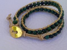 """20€//Bracelet """"Verde"""" for children leather and malachite pearls  #fashion #bracelets #jewelry #leather #diy #handmade #pearls #bangles #trend #summer #children"""