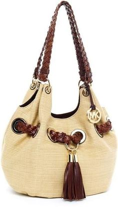 Michael Kors Braided Grommet Straw Bag