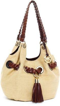 Michael Kors Braided Grommet Straw Bag