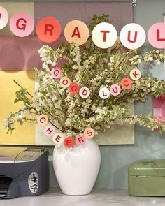 Easy to fashion from card stock and felt letters, this festive garland makes a memorable congratulatory banner for a recent graduate.