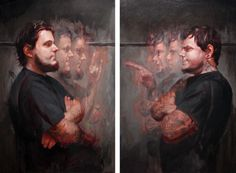 """Portrait of the artists, James Kern and Tim Kern - oil on canvas / diptych - 36"""" x 24"""", 36"""" x 24"""""""