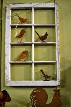 Garden Window with Rusty Birds