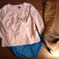 jcrew lace top lookbook outfit knee high boots jeans statement necklace