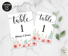 Floral Wedding Table Numbers Printable Table Numbers Rustic