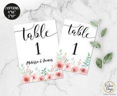 Floral Wedding Table Numbers Printable Table Numbers Rustic