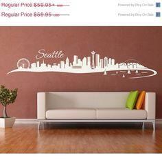 Seattle City Skyline Wall Decal by Style Apply cityscape highest quality wall decal sticker mural vinyl art home decor 4200 Black x -- For more information, visit image link. Wall Stickers Murals, Vinyl Wall Art, Wall Decal Sticker, Wall Murals, Decals, Seattle City, Seattle Skyline, Home Decor Furniture, Wall Art Designs