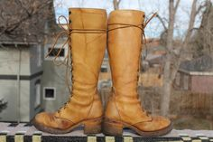 vtg leather womens tall lacer up boots rubber sole/heel by Taite, $35.00