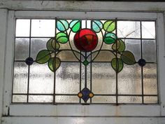 """This reclaimed """"Rosebud"""" stained glass window. (whimsical reference to old Girl Guide days where we pulled the """"Rosebud Duty"""" chore card -cleaning bathrooms) Antique Stained Glass Windows, Stained Glass Flowers, Faux Stained Glass, Stained Glass Designs, Stained Glass Panels, Stained Glass Projects, Stained Glass Patterns, Leaded Glass, Mosaic Glass"""