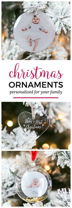 How to create personalized photo ornaments for your Christmas tree! Click through to see the best personalized Christmas gift ideas for everyone on your list with Shutterfly and Orlando, Florida lifestyle blogger Ashley Brooke Nicholas! #shutterfly sponsored by Shutterfly   Christmas gift ideas, personalized gift ideas, monograms, monogrammed, monogrammed gifts, photo books, baby's first christmas, Santa sack, flocked Christmas tree, Christmas gift ideas, unique gift ideas, newborn photos