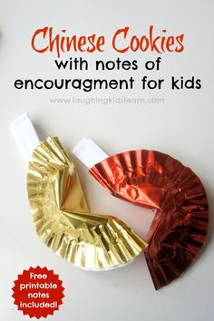 Chinese fortune cookies with notes of encouragement for kids - Laughing Kids Learn Chinese fortune cookies with notes of encouragement for kids are made from cupcake liners - Laughing Kids Learn Chinese New Year Crafts For Kids, Chinese New Year Activities, Chinese Crafts, New Years Activities, Chinese New Year 2020, Learn Chinese, Activities For Kids, Literacy Activities, Multi Cultural Crafts For Kids