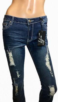 Women's Skinny Jeans Distressed A7 Stretched Low Rise Dark Wash Denim #A7 #SlimSkinny