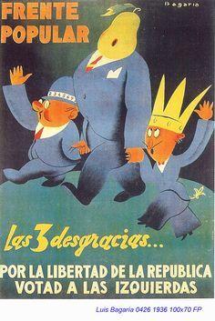 Spain - 1936. - GC - poster - @ Luis Bagaría Bagan, Frente Popular, Spanish War, Contemporary History, Dinosaur Stuffed Animal, Spain, Advertising, Memes, Magazines