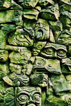 Statues-and-monuments: Gargoyle Wall Fired Earth, Green Man, Stone Carving, Wabi Sabi, Textures Patterns, Wood Patterns, Architecture, Shades Of Green, Garden Art