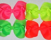 SALE-Neon Baby Bows 4 Neon Hair Bows Girls Neon Bows Toddler Bow Neon Boutique Bow Neon Hair Clip Neon Pink Neon Yellow Neon Orange Green