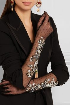 DOLCE & GABBANA Crystal-embellished point d'esprit gloves