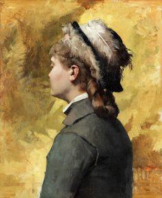 Albert Edelfelt - Young woman in grey (ca. 1878)