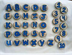 Blue alphabet and number wood slice magnets on Etsy