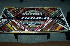 hey r/hockey, my fiance and i are moving into a house where he gets his own man cave. he is obsessed with hockey and i want to buy him something. Hockey Man Cave, Hockey Mom, Ice Hockey, Hockey Stuff, Hockey Stick Crafts, Hockey Sticks, Hockey Bedroom, Hockey Decor, Hockey Quotes