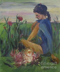This peaceful female image is an older oil painting painted by West Virginia artist Avonelle Kelsey. The original work is estimated to have been painted no later than the early 1990s and has a very small hole in the canvas. Measures 24.25x20.5