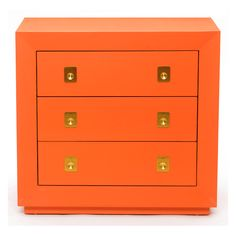 Chest of Drawers - Glossy tangerine finish with polished brass hardware.....a statement made!