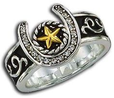(MSRG61445) Western Silver & Gold Horseshoe/Star Ring