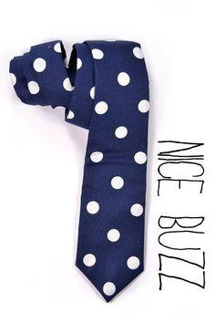 Men NeckTie Navy blue white dotsMen ties preppy style by nicebuzz, 44.00