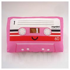 "Decorative Pillow, Cassette Tape Pillow, Pink Theme, Vintage, Retro, Old School, 80's, Geekery, Room Decor, Dorm Decor, Toys, 9 x 6"" by mymimi on Etsy https://www.etsy.com/listing/61478843/decorative-pillow-cassette-tape-pillow"