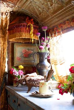 """Too much for a small space, but the faux tin ceiling is interesting... """"magnolia pearl airstream trailer"""""""