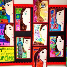 Fourth grade half self portraits. Art education elementary