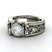 Round Black Diamond 14K Rose Gold Ring | Celtic Sun Ring | Gemvara