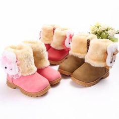 enfants bambin bébé fourrure bottes chaussures zip de lapin chez Banggood