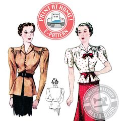 E-Pattern- 1930s Day or Evening Blouse & Skirt