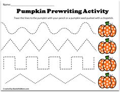 Pre K Tracing Worksheets with a Pumpkin Theme -There are six tracing sheets in this set.