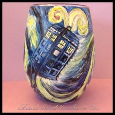 Doctor Who Starry Night Inspired Wine Glass by BlackBirdCoutureCo, $65.00