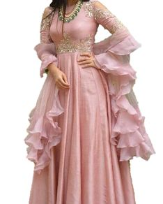 Georgette long Anarkali Gown Ruffle Organza Dupatta Hand Embroidered 2 Piece All type of Customization possible as per Requirement. Indian Wedding Gowns, Indian Gowns Dresses, Pakistani Dresses, Pink Gowns, Gown Wedding, Wedding Wear, Indian Designer Outfits, Designer Gowns, Indian Attire