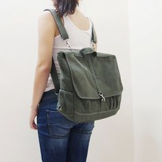 MAXX Canvas Back Pack in Army Green - Backpack / Cross body Messenger / Shoulder bag. $65.00, via Etsy.