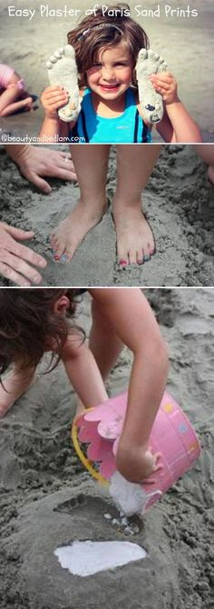 Make such easy and memorable memories by doing this simple Beach craft . With a little plaster of paris and some water, your kids will have a blast!! (And yes, back yard sand works great too :)