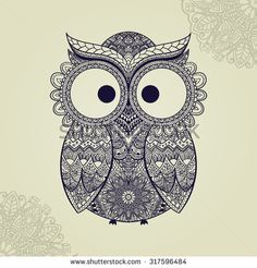 Vector illustration of owl. Bird illustrated in tribal.Owl with flowers on light background. Shaped and ornamental owl.