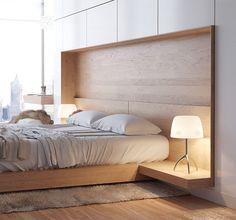 table de chevet design incorporée à la tête du lit 2 personnes en bois blond