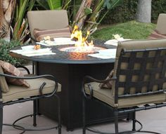 Fire Pit Dining Table Round Top Squre Base Fire Pit Dining Set, Fire Pit  Table