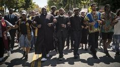 Berkley. 2017   Clergy members march to MLK Park. After a right wing rally was cancelled at Martin Luther King Park, various counter protesters converged from the UC Berkeley campus and other locations to the park.