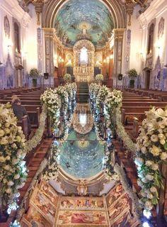 Church Wedding Ceremony, Romantic Wedding Receptions, Church Wedding Decorations, Wedding Altars, Glamorous Wedding, Wedding Bells, Wedding Centerpieces, Dream Wedding, Church Flowers