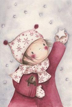 Illustration – Catching a little star Illustration Mignonne, Christmas Illustration, Children's Book Illustration, Watercolor Illustration Children, Sweet Pictures, Art Fantaisiste, Art Mignon, Whimsical Art, Christmas Pictures