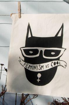 kitty cat + feminism= best tote bag eva