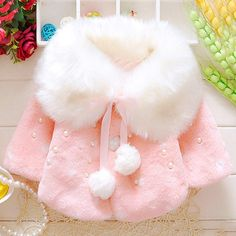 Fashionable Long Sleeve Beaded Fur Spliced Coat For Girl