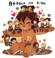 Look at Levi's face! Krista, Ymir, Annie, Bertholtd, Reiner, Sasha, Connie, Armin, Levi, Hanji, Mikasa, Jean, Marco, and Titan Eren