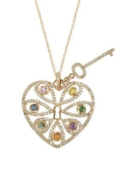 Heart and Key Pendant with Multi Color Gemstones