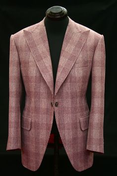 The richness, yet softness of colour-tone in this check is stunning - rich mauve, rose, cherry and notes of grey. A very clever cloth.